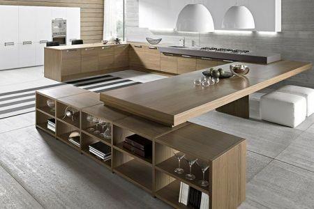 wood clean lines big kitchen design