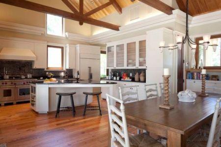 white chairs open kitchen