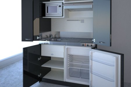 black high compact kitchen
