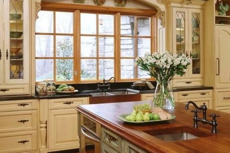 wood counter top kitchen