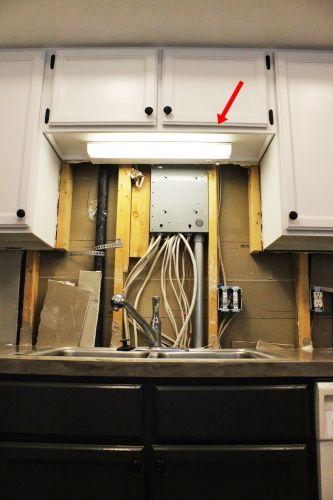 diy kitchen lighting upgrade light over kitchen sink Kitchen Light Upgrade Above the sink light