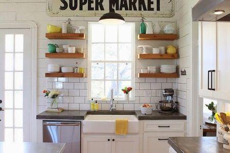 farmhouse kitchen style with open shelves