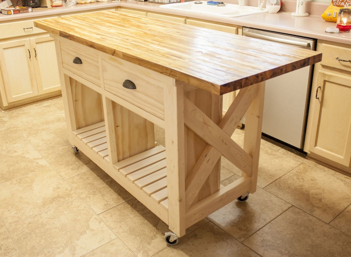 furniture on wheels kitchen chairs on wheels Double kitchen island with butcher block top on wheels