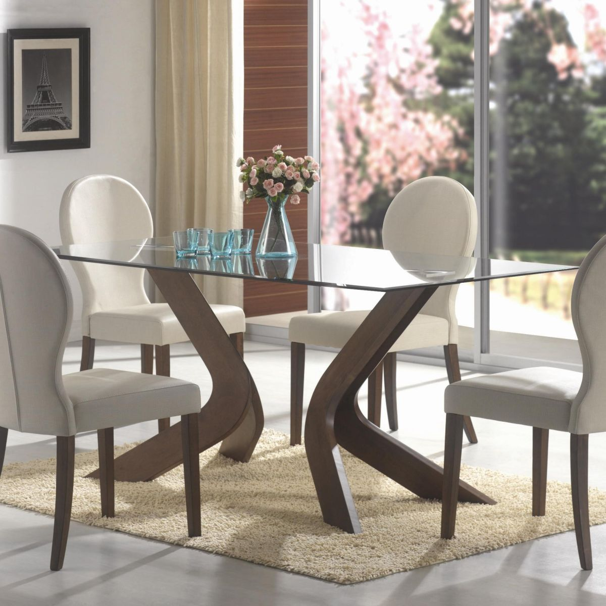 glass top dining table glass kitchen table Oval back dining chairs and glass top table