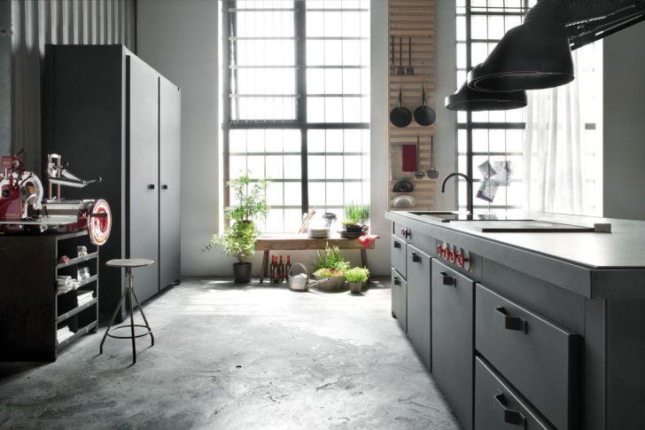 eclectic milan loft concrete kitchen floor Loft Micassiolo in Milan kitchen and concrete floor