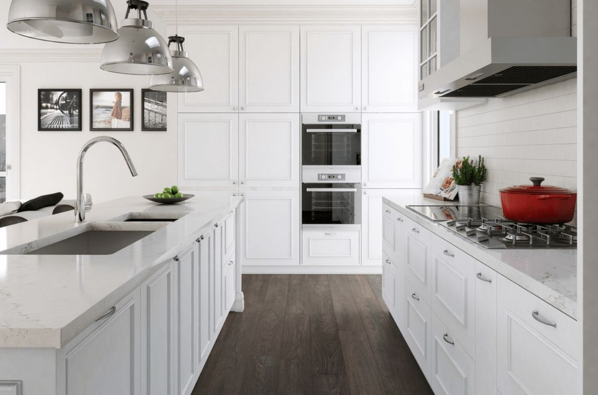wood laminate flooring for your kitchen laminate flooring kitchen White Timeless kitchen