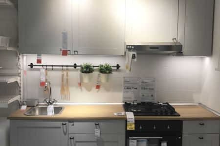 small grey kitchen layout design from ikea