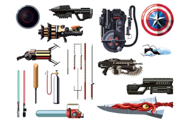 Daniel Nyari Illustrates Famous Weapons From Movies and Video Games