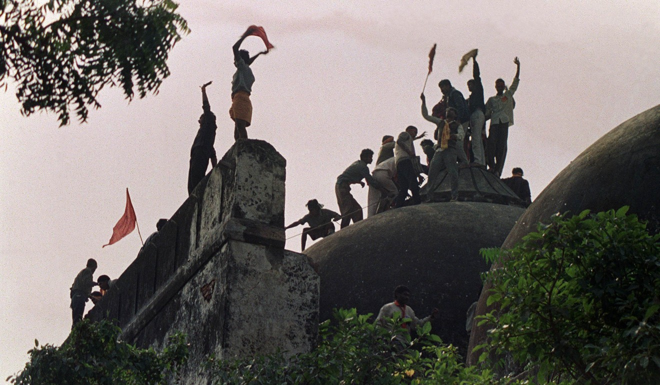 Hindu fundamentalists in celebrate the destruction of the 16th Century Babri Mosque in Ayodhya, 1992. Photo: AFP
