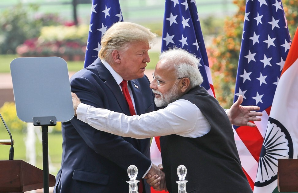 US President Donald Trump and Indian Prime Minister Narendra Modi in New Delhi, India in February. The two countries have bulked up their security alliance to counter China's growing global influence. Photo: AP