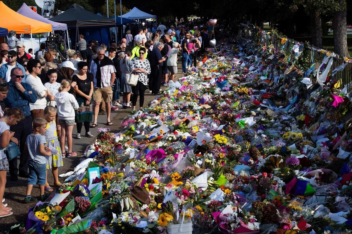 Floral tributes to those who were gunned down at the two mosques in Christchurch, New Zealand. Photo: AFP