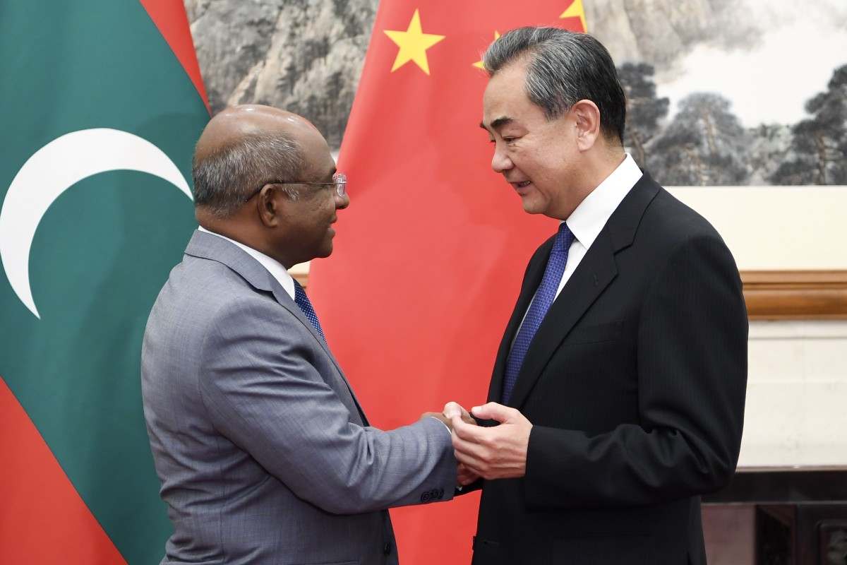 Maldives' Foreign Minister Abdulla Shahid and Chinese Foreign Minister Wang Yi in Beijing. Photo: Xinhua