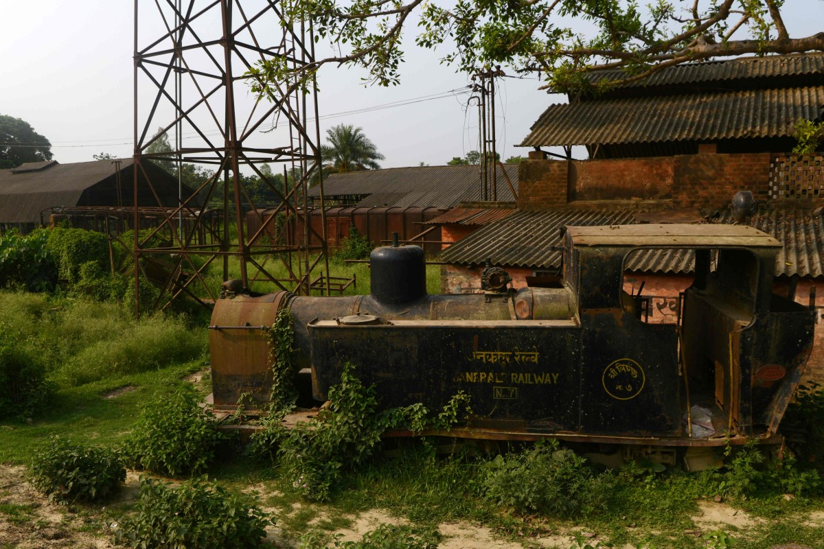An old train engine lies abandoned in Janakpur, 300km south of Kathmandu. Photo: AFP