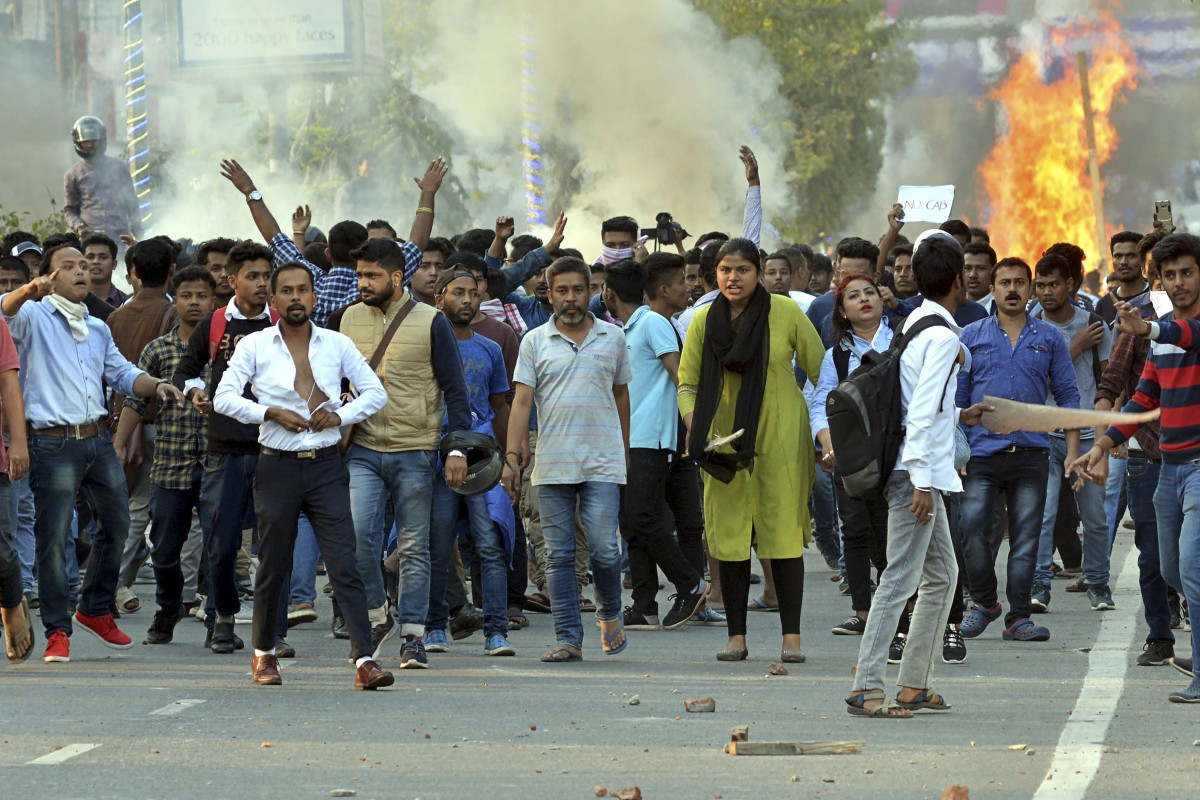 Protestors demonstrate against the Citizenship Amendment Bill (CAB) in Guwahati, India. Photo: Xinhua