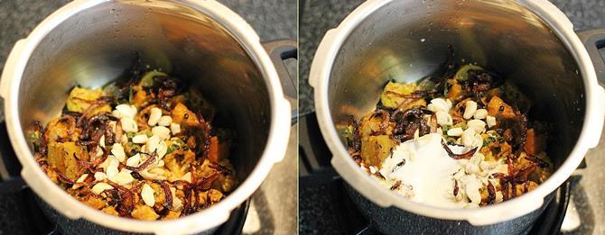 addition of remaining yogurt for making hyderabadi veg biryani recipe