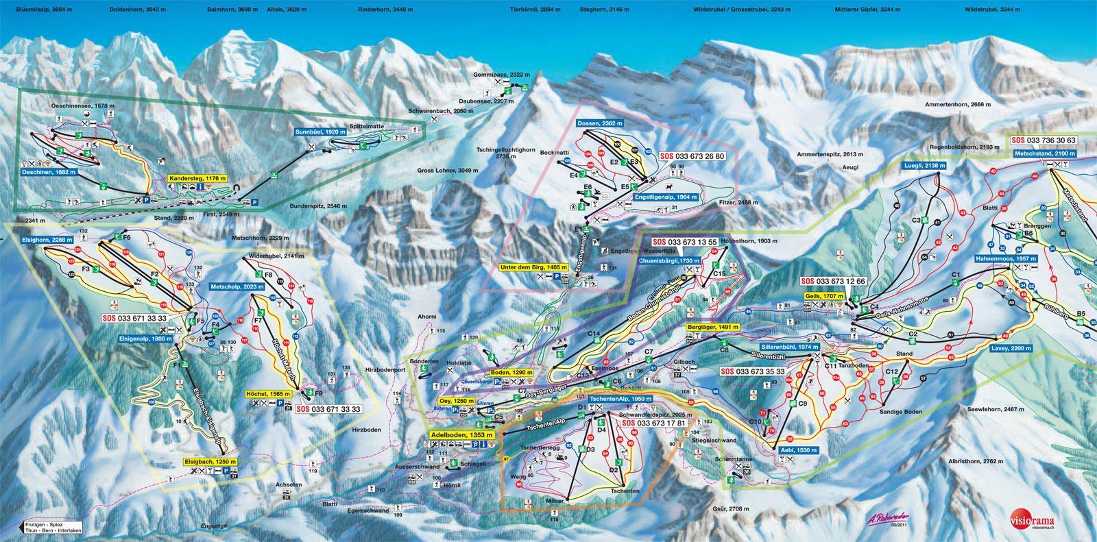 map ski resorts alps