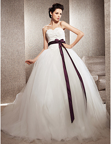 Tulle Ball Gown Sweetheart Chapel Train Wedding Dress