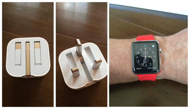Folding UK Plug and Red Apple Watch