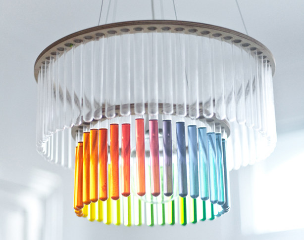 Test tube chandelier with colored liquids