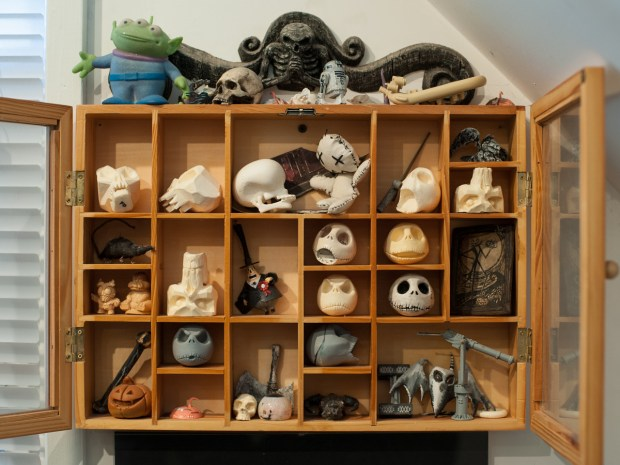 A small collection of treasures lives behind glass in Fon Davis' office.