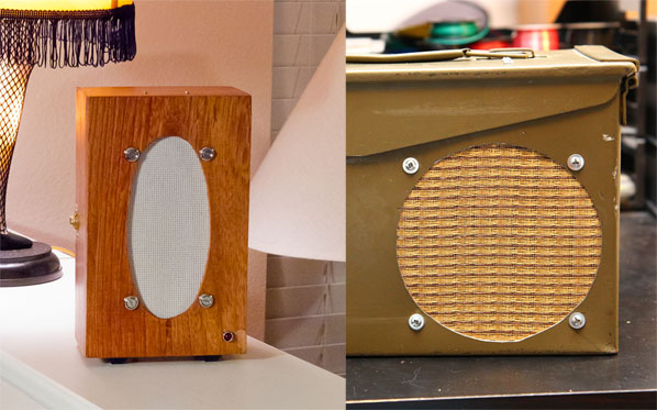 The MonoBox on the left is John Hall's prototype which he modded with a status LED and is powered by a 9V battery; on the right is Scott Vincent's MonoBox mod built into a .50 cal ammunition can, and who heavily documented his build process (see below).