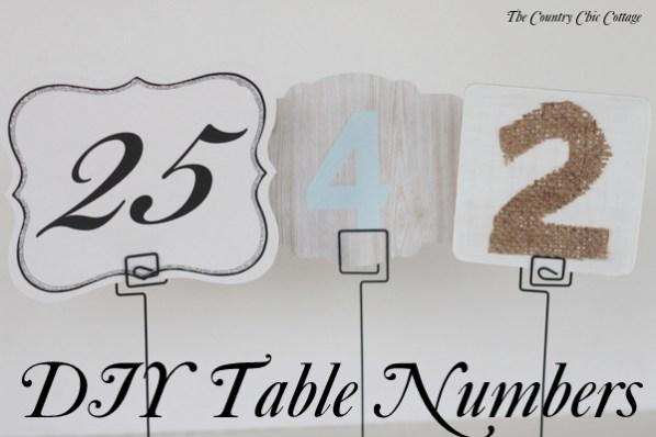 DIY Wedding Ideas Table Numbers