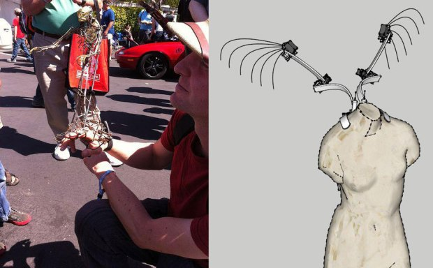 Brian and Francis at Maker Faire Bay Area 2012 (left) and a sketch of wing designs for this year's Faire (right)