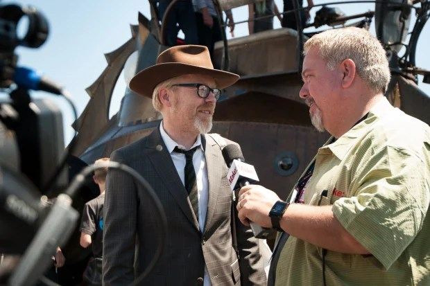 MAKE Editorial Director Ken Denmead interviews Adam Savage on May 19 at Maker Faire Bay Area. (Gregory Hayes/MAKE)