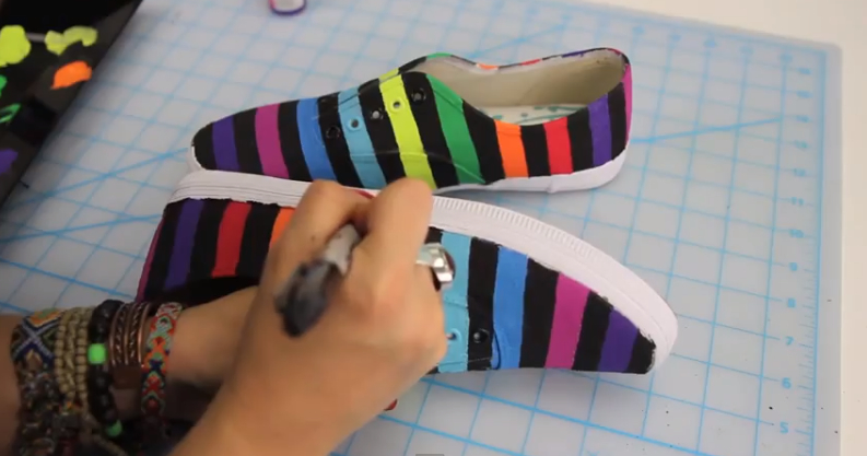 Rainbow shoes by threadbanger-3