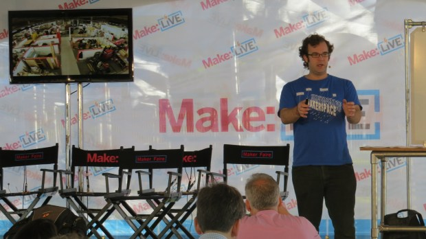 Makerspace workshop on the Make: Live Stage.