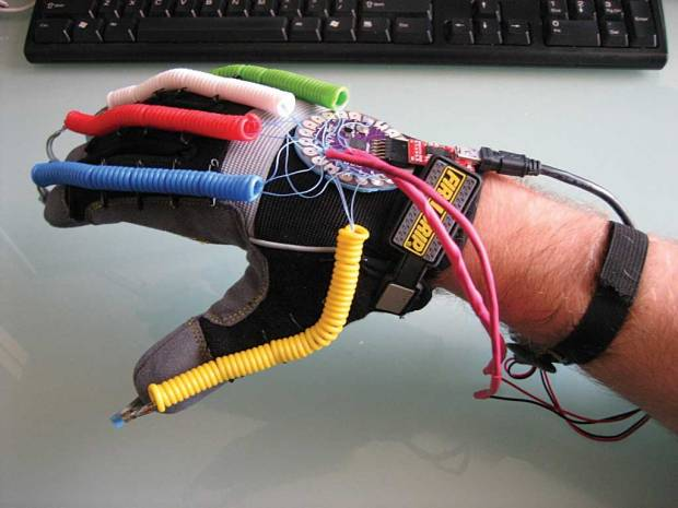 Jacek Spiewla's BeatGlove is a wearable electronic musical instrument based on LilyPad Arduino.