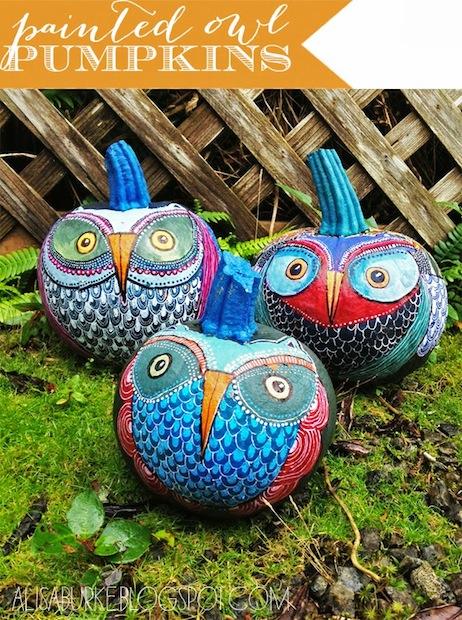 alisaburke_painted_owl_pumpkins_01