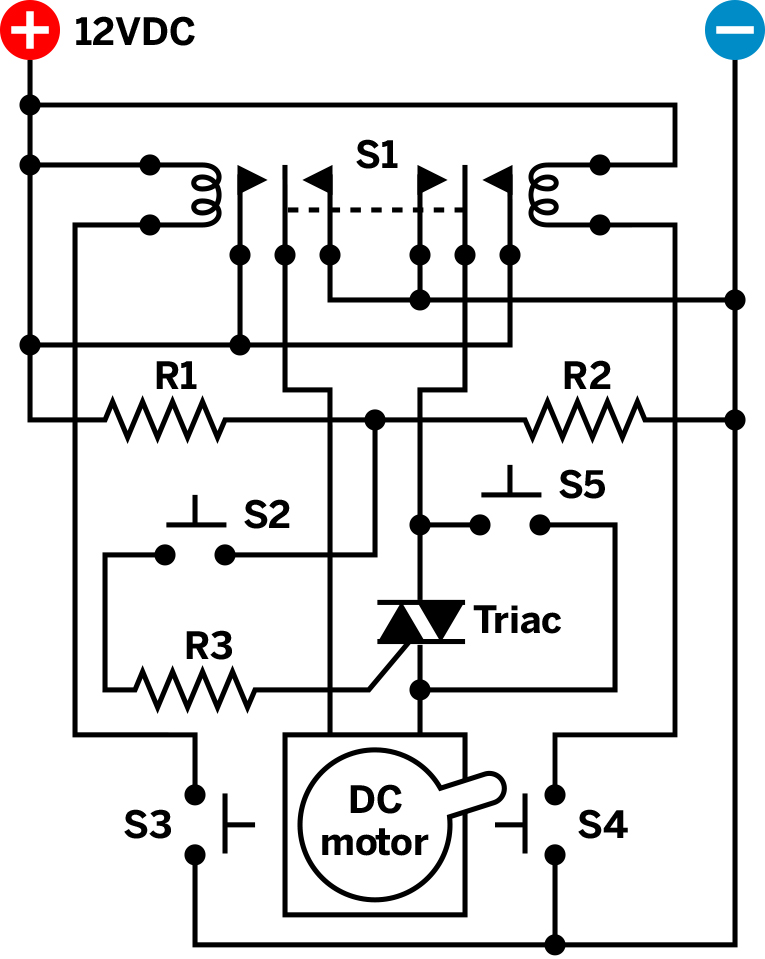 Try a triac make for Dc motor reversing circuit with limit switches