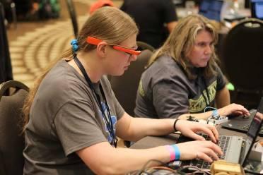 Jamie Szafran coding at RobotsConf