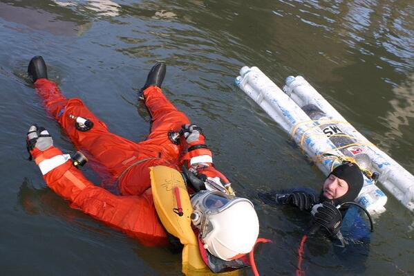 Pacific Spaceflight volunteer Ben Wilson in a flotation test in downtown Portland, Oregon. Photo: Collection of Cameron M. Smith