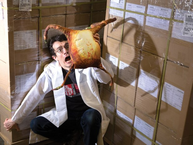 """MAKE Labs manager Sam Freeman suffers the attentions of a cuddly """"headcrab"""" parasite extracted from Half-Life 2."""