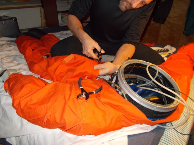 Hand-seaming on the pressure restraint garment, one of the four layers of the pressure suit. Not using a sewing machine is slow...but allows me to know every single millimeter of the suit that is meant to preserve my life at high altitude. Photo: collection of Cameron M. Smith.
