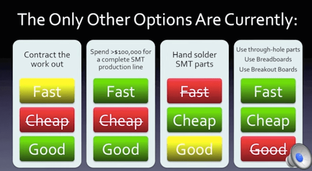 The current alternatives to expensive, traditional printed circuit boards available to makers (SMT = surface-mount technology).