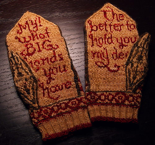 Mittens Knitting Pattern In The Round : Little Red Riding Hood Mittens Knitting Pattern Make: