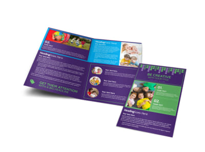 Online Brochure Maker   MyCreativeShop Little Stars Daycare Bi Fold Brochure Template