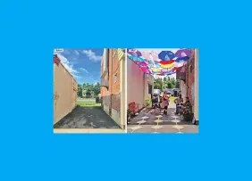 """Before and after images: an alley between Tyler Street and a parking lot in Pittsfield (MA) became """"Umbrella Alley."""""""
