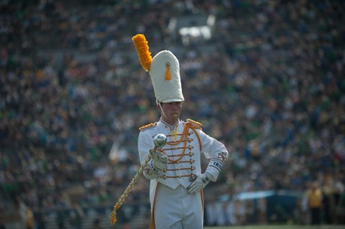 The band's head drum major readies them to take the field at the Notre Dame vs Duke football game on Saturday.