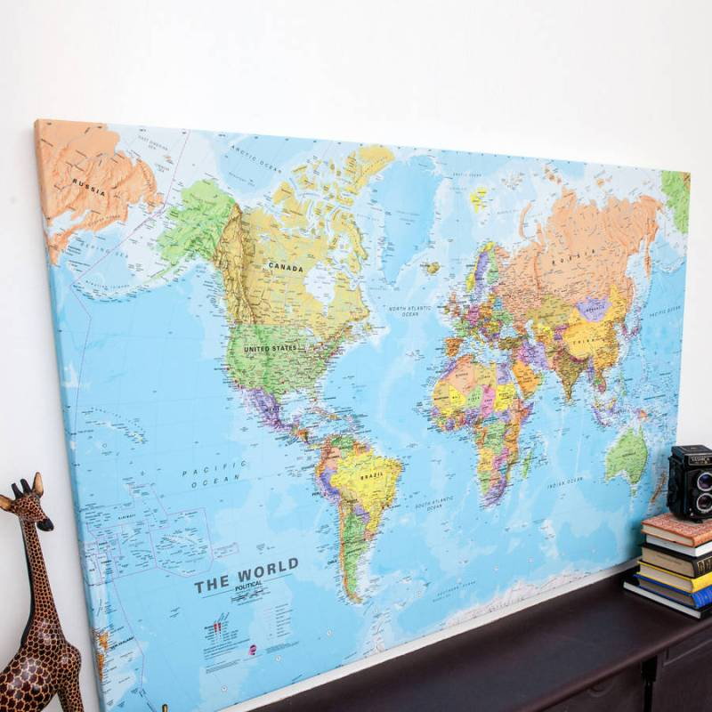 Natural World Canvas Map Print World Canvas Map Print By Maps ...