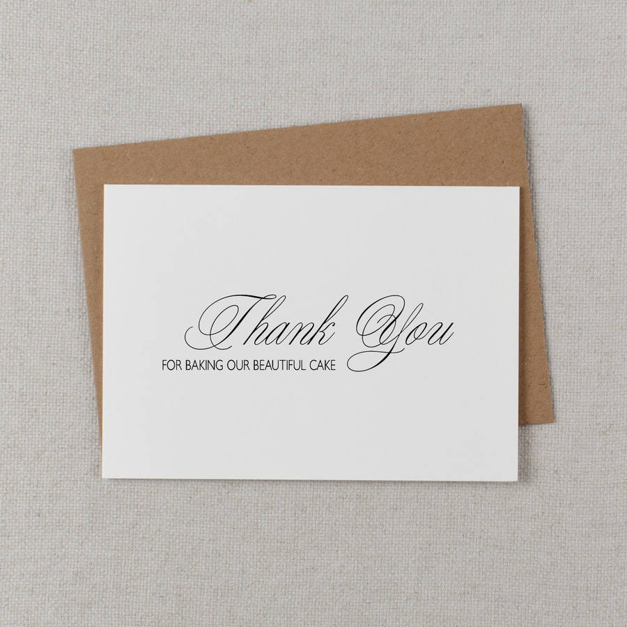 wedding thank you card for cake maker thank you wedding cards Wedding Cake Thank You Card For Baker
