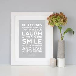 Neat Light Grey Gift Quote Print By Hope Love Friend Quotes Short Friend Quotes To Make M Cry