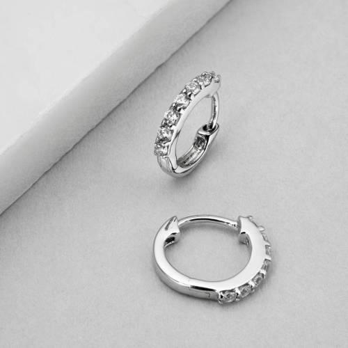 Stylish Small G Or Silver Diamond Huggie Hoop Earrings Small G Or Silver Diamond Huggie Hoop Earrings By Lily Roo Diamond Hoop Earrings Zales Diamond Hoop Earrings Thin