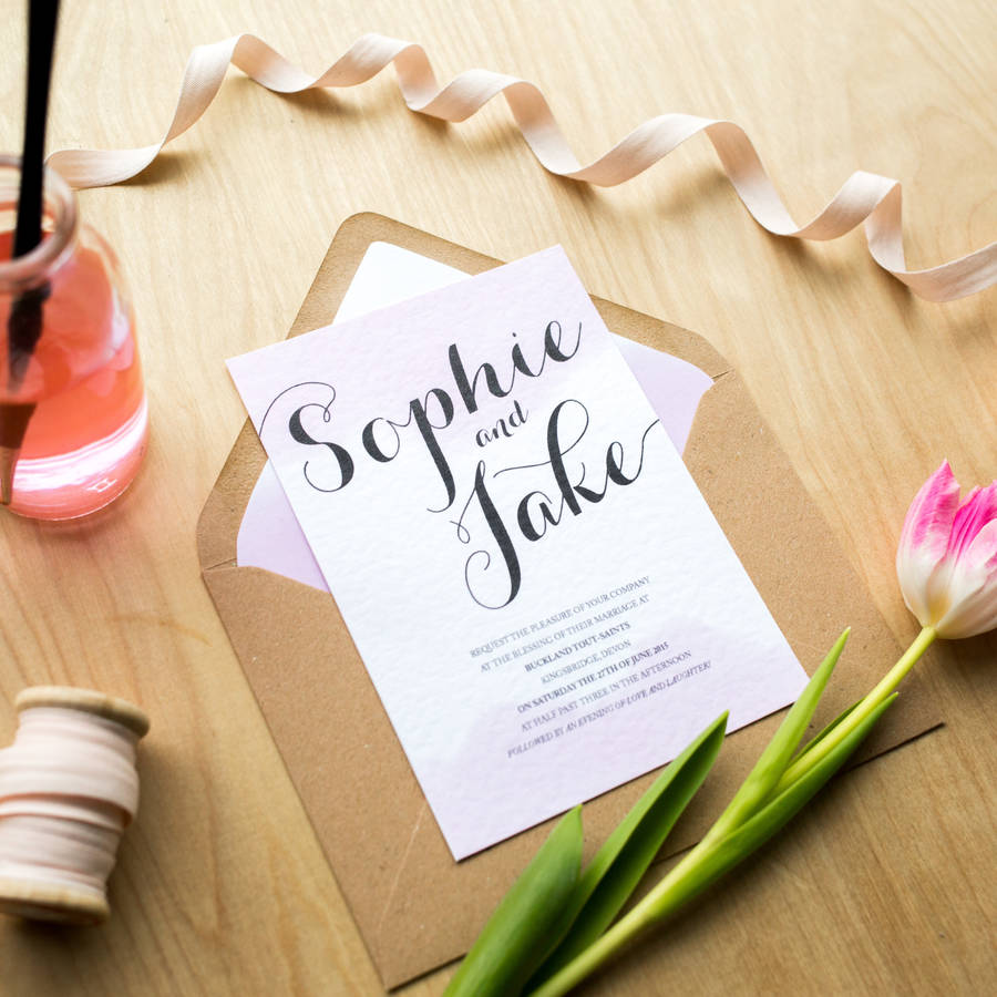 blush watercolour wedding invitations blush wedding invitations Blush Watercolour Wedding Invitations