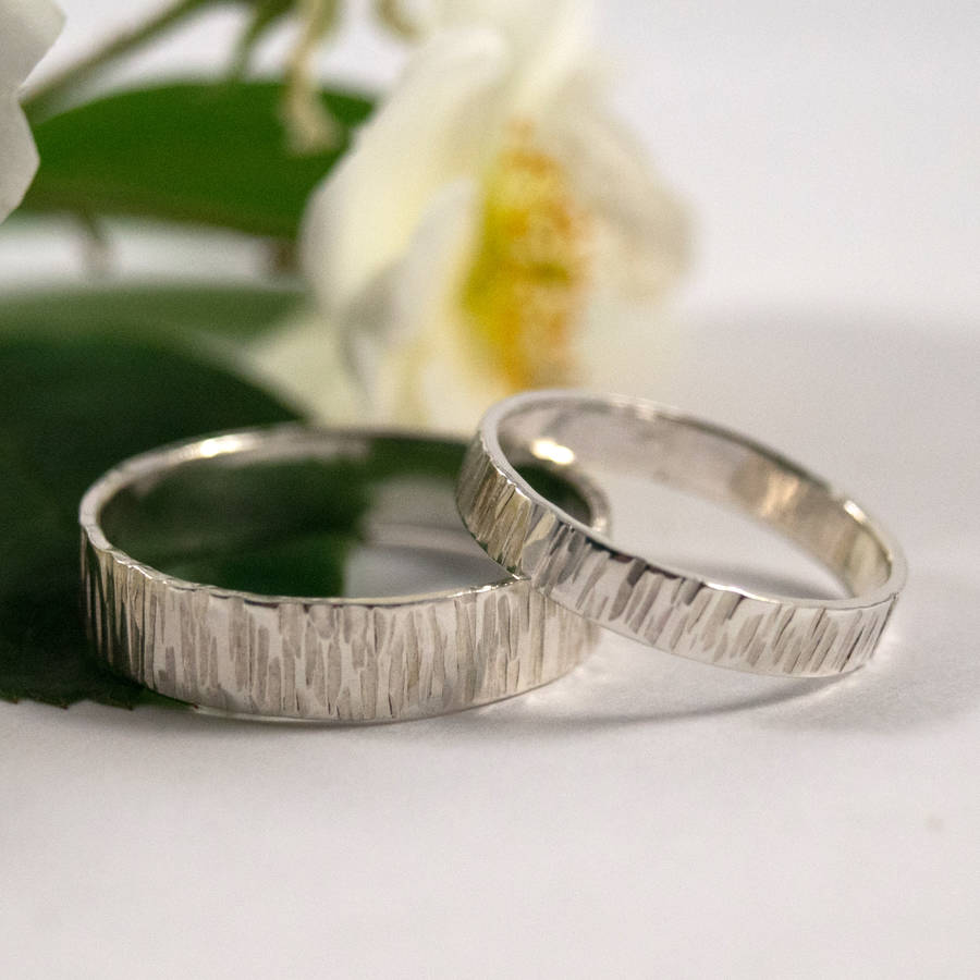 wedding rings pictures of wedding rings Bark Effect Wedding Bands In Sterling Silver