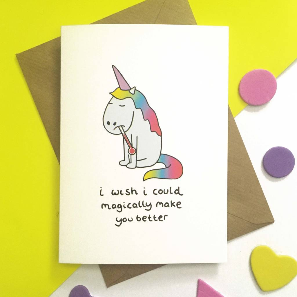 Scenic French Unicorn Get Well Soon Card Unicorn Get Well Soon Card By Ladykerry Illustrated Gifts Get Better Soon Puns Get Better Soon cards Get Better Soon