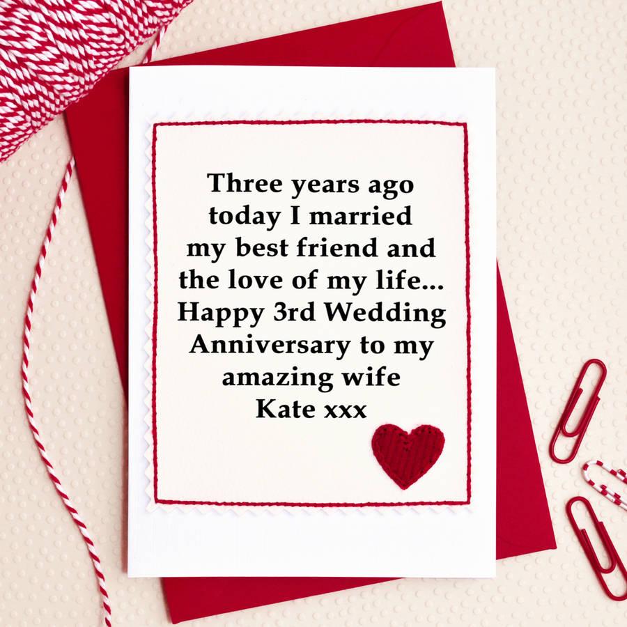 Astounding Personalised Wedding Anniversary Card Personalised Wedding Anniversary Card By Jenny Arnott Cards 3rd Wedding Anniversary Me 3rd Wedding Anniversary Gift Her wedding 3rd Wedding Anniversary